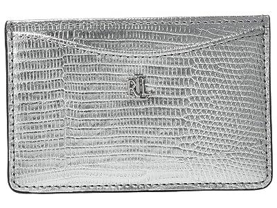 LAUREN Ralph Lauren Lizard Embossed Slim Card Case Medium (Silver) Handbags