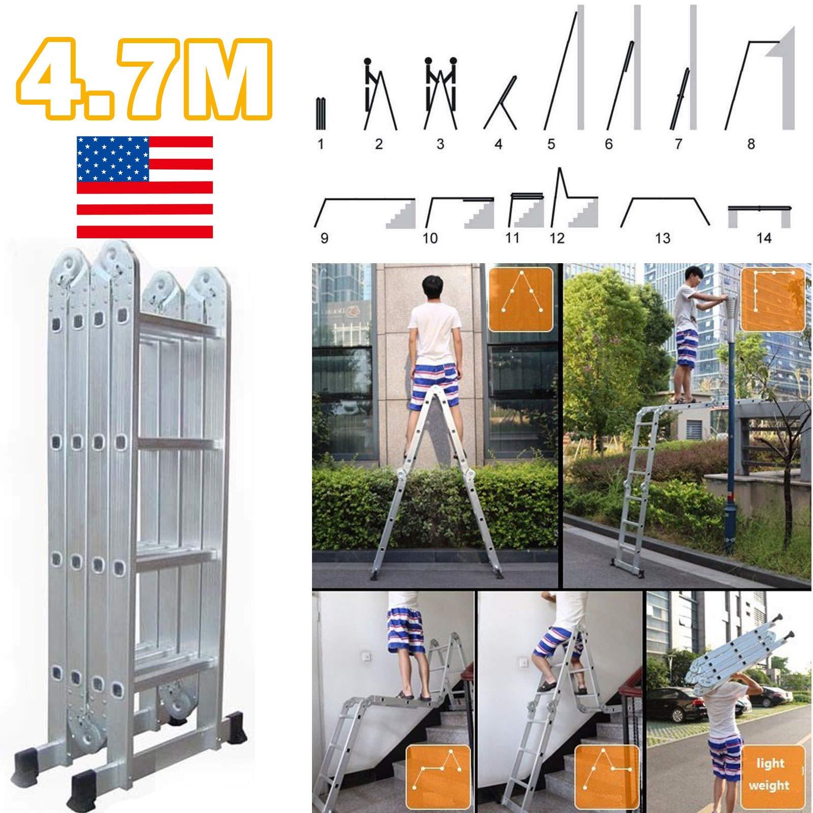 Huni - Escalera Plegable de 4,7 m 14 en 1, Multiusos, multiposición, extensión, con Plataforma Estable, Antideslizante, Carga máxima de 150 kg (330 Libras) para Uso en Interiores y Exteriores: Amazon.es: Coche y moto