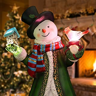 Valery Madelyn 12 Inch Polyresin Christmas Snowman Figurines Decoration with LED Lights, Themed with Classic Collection Splendor Christmas Ornaments