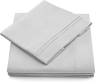 Split King Bed Sheets - Silver Luxury Sheet Set - Deep Pocket - Super Soft Hotel Bedding - Cool & Wrinkle Free - 2 Fitted, 1 Flat, 2 Pillow Cases - Light Grey SplitKing Sheets - 5 Piece