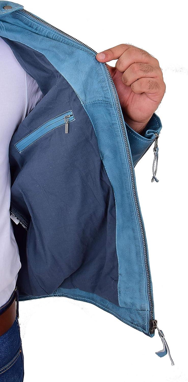 Mens Trendy Biker Leather Jacket Denim Blue Racing Stripes Badges Designer Coat Jack