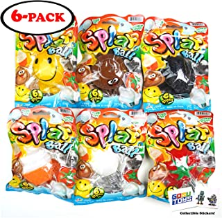 Splat Ball Series 1 (6 Pack) 6 Styles - Ice Cream Rat Smiley Face Poop Tomato Light Bulb with 2 GosuToys Stickers