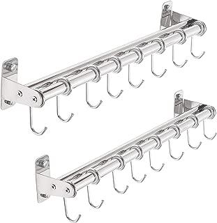 Dseap Pot Rack - Hanging Pot Rack Wall Mounted with 8 Hooks, Double Bars, Pan Rack, Pot Hangers for Kitchen, Chromed, 2 Packs