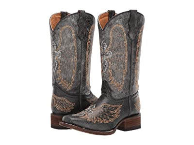 Corral Boots Kids A1032 (Little Kid/Big Kid) (Black/Silver/Gold) Cowboy Boots