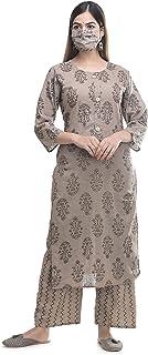 Uma's Women's Cotton Kurti With Plazo set With Cotton Fabric Kurta & Palazzo Golden Foil Print With Kathan Work With Free ...