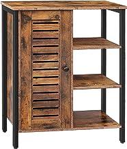 HOOBRO Bathroom Cabinet, Storage Cabinet, Cupboard with 2 Hidden Adjustable Shelves, , Sideboard with 3 Open Shelves, Side...