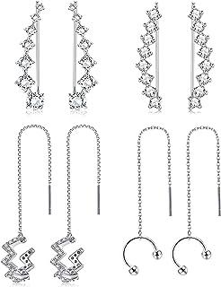 Jstyle 4Pairs Ear Cuffs Earrings Hoop Climber Crawler Earrings for Women Girls Wave Tassel Threader Chain Earring Wrap Cartilage Piercing Earrings Set