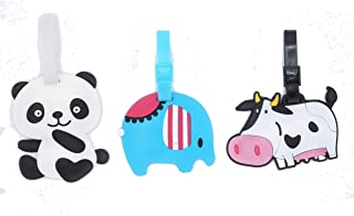 Set of 3 - Super Cute Kawaii Cartoon Silicone Travel Luggage ID Tag for Bags (Animals)