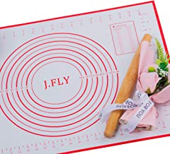 J.FLY Silicone Pastry Mat 16 x 24inch Non-Stick Baking Mat with Measurement Extra-Thick Large Multipurpose Countertop Protector Easy Cleaning Kneading Mat for Fondant, Pie Crust, Pizza and Cookies