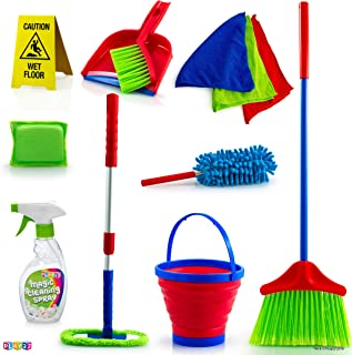 Play22 Kids Cleaning Set 12 Piece - Toy Cleaning Set Includes Broom, Mop, Brush, Dust Pan, Duster, Sponge, Clothes, Spray,...