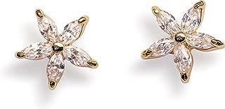 Stud Earrings for Women - Flower Studs for Girls 14k Gold Hypoallergenic Stainless Steel for Sensitive Ears Diamond Shaped Daisy Studs Celeb Approved