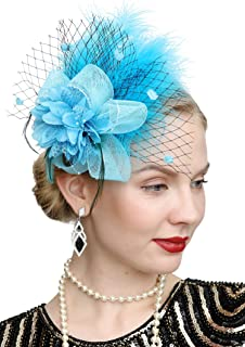 Fascinators Hats for Women with Hair Clip Tea Party Hats Feather Wedding Headware Bridal 1920s Headpiece