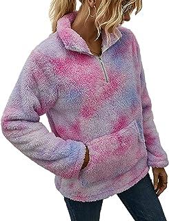 Chigant Womens Sherpa Pullover Tie Dye Fleece Oversize Sweatshirts Fuzzy Fluffly Coat Outwear With Kangaroo Pockets