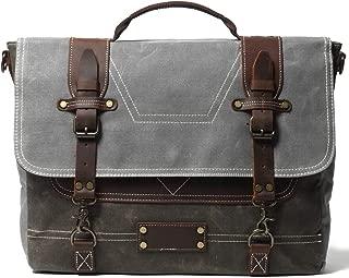 Sunsomen Men's Leather Messenger bag, 15.6-inch Gray Satchel Laptop Canvas Bag Rugged Briefcase