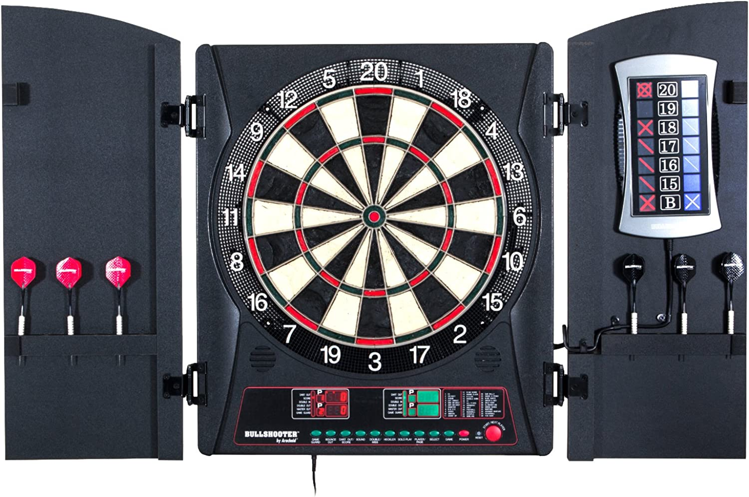 Bullshooter by Arachnid EBristle Cricketmaxx 3.0 Dartboard Cabinet Set