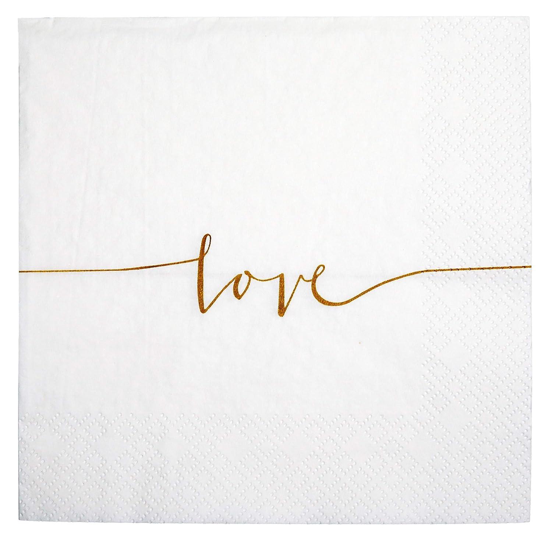 khevga Set of 40 Paper Napkins in White Love Wedding Napkins Wedding Decoration