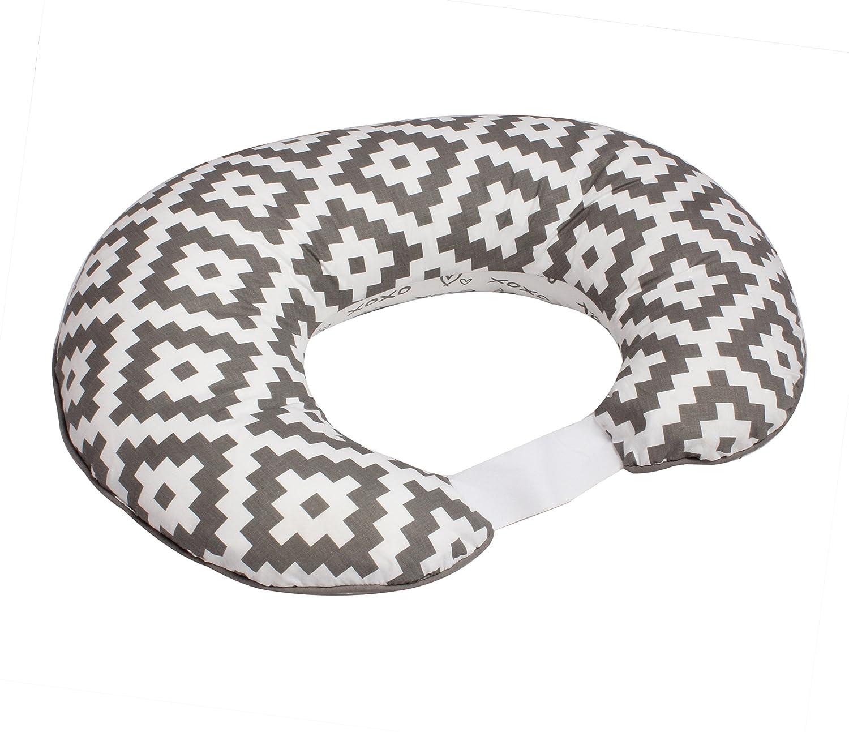 Bacati Love Nursing Pillow Cover, Grey/White