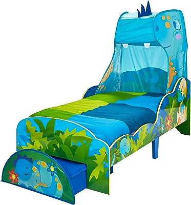 Hello Home Dinosaure pour Enfant avec Ciel de lit et tiroir de Rangement, Taille Unique