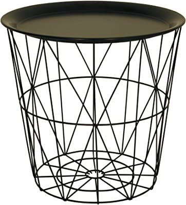 White Side Table Geometric Modern Square Wooden Lift Off Lid Storage Metal