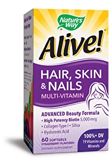 Nature's Way Alive! Hair, Skin & Nails Multivitamin with Biotin (5,000mcg per serving and Collagen (75mg per serving), Fru...