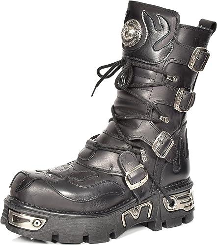 New Rock botas de Cuero Cordones zapatos Diseño de Llamas Estilo Gótico Retro negro Liso