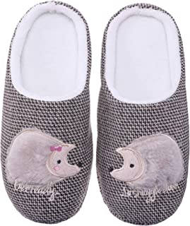 Womens Cute Animal Hedgehog Slippers Soft Warm Fleece Non-Slip Home Winter Shoes