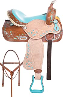 """AceRugs 14"""" 15"""" 16"""" Cowgirl Turquoise Western Leather Rough Out Barrel Racing Trail Show Horse Saddle TACK Set"""