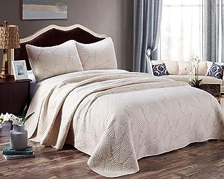 Qucover Ensemble Dessus de lit 220x240cm matelassé Feuille de Palmier - Beige avec 2 taie d'oreiller