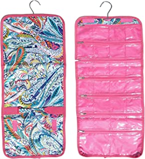 Best Pink Paisley Hanging Jewelry Hanger Travel Bag Roll Bead Craft Organizer Set Unique Cool Great Cute Girls Last Minute Xmas Stocking Stuffer Gift Idea 2019 Gift Idea Under 15 Dollar for Woman Wife
