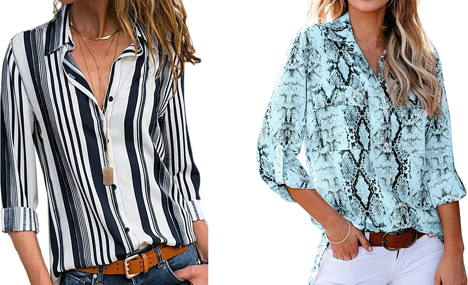 Astylish Women V Neck Striped Roll up Sleeve Button Down Blouse Tops Shirts