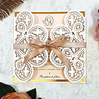 Eleganti inviti di nozze in pizzo con taglio laser Buste GRATUITE - Nastro color pesca, biglietti per inviti Fai da te in ...