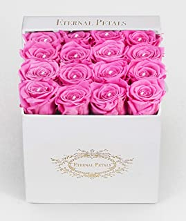 Real Roses That Last A Year - White Velvet Box with Swarovski Crystals (Pink)