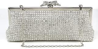 Redland Art Women's Fashion Sparkly Rhinestone Mini Clutch Bag Wristlet Evening Handbag Catching Purse Bag for Wedding Party (Color : Silver)