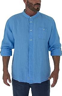 Men's Long Sleeve Linen Shirt with Mandarin Style Round Collar