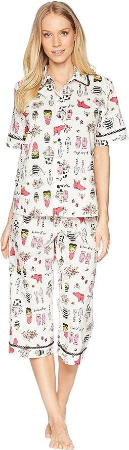 Garden Print Cropped Pajama Set