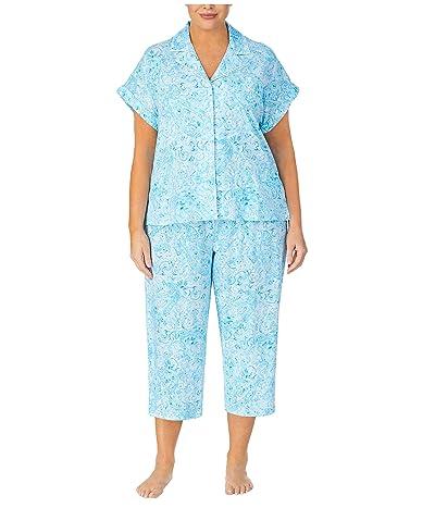LAUREN Ralph Lauren Plus Size Classic Knits Dolman Sleeve Notch Collar Capri Pants Pajama Set (Blue Print) Women