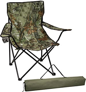 Preferred Nation Camo Folding Collapsible, Portable Sports Chair, Camping Chair, with Cup Holder and Carry Bag   Great for...