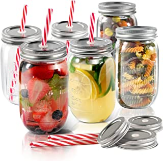 Mason Jars 6 PCS 16 oz Glass Jars with Lids & Straws Send 3 Non-Pores Covers Kitchen Glass Jars Mugs Masthome