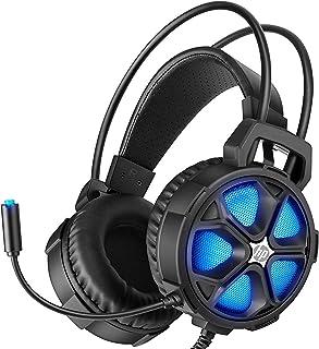 HP Auriculares de diadema para PS4, Xbox One PC Controller con sonido envolvente de bajo, luz LED y aislamiento de ruido con micrófono y cable USB de 3,5 mm para ordenadores portátiles, Mac y Nintendo Switch Games