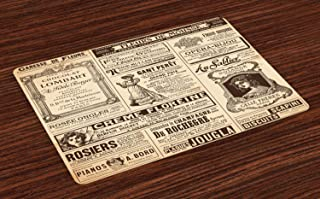 Ambesonne Paris Place Mats Set of 4, Vintage Old Historic Newspaper Journal French Paper Lettering Art Design, Washable Fabric Placemats for Dining Table, Standard Size, Brown Caramel