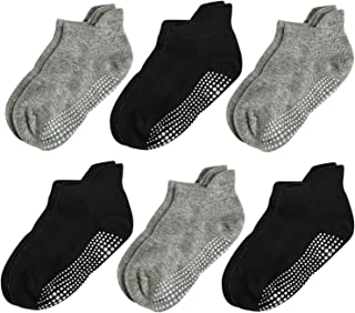 Aminson Grip Ankle Low Cut Athletic Socks - Kids Boys Girls Anti Non Skid Slip Slipper Crew Socks 6-12 Pack