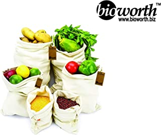 Bioworth Reusable Organic Cotton Produce Muslin Shopping bags with Drawstring-high strength,tare weight tag & washable with