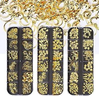 Tingbeauty 6400pcs Nail Art Rhinestones Shiny Gold Metal Rivets Charms Hollow Moon Star Shell Shaped Nail Studs Gems for N...