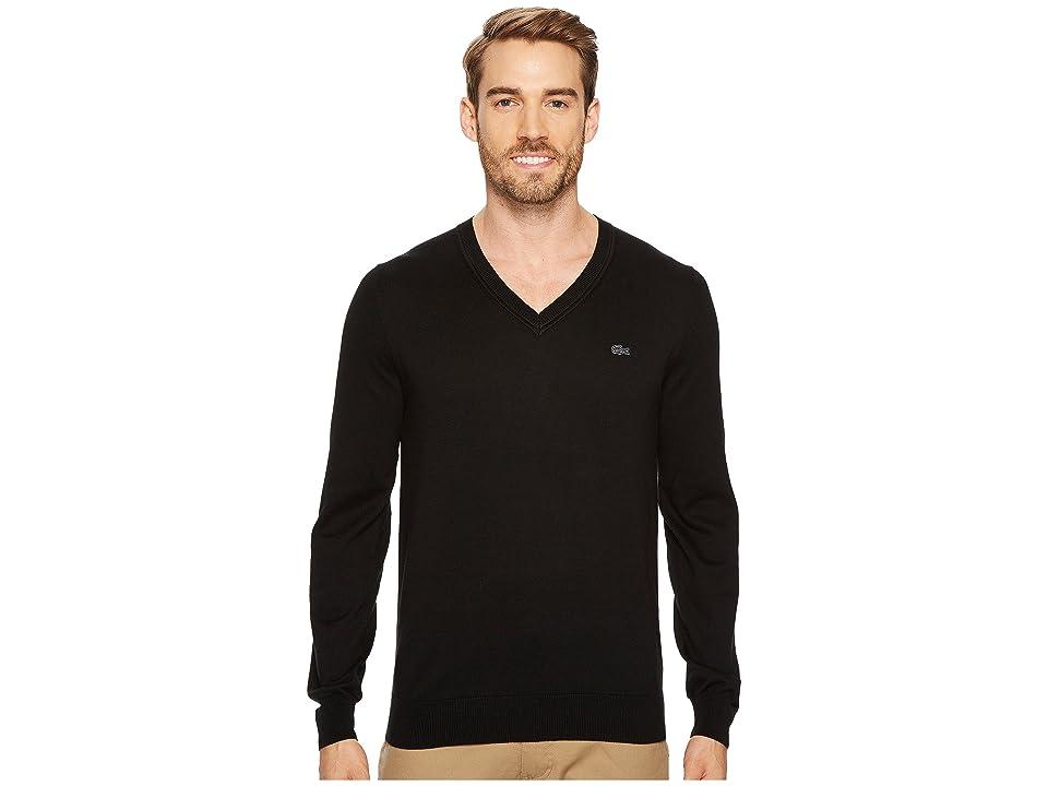 Lacoste Cotton Jersey V-Neck Sweater (Black) Men