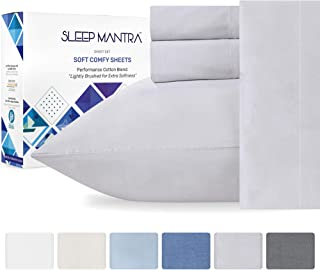 Full Size Bed Sheets Silver - 4 Piece Smooth Percale Sheet Set, Cotton Rich Bedding for Guest Bedroom, Elasticized 15 Inch Deep Pocket Fits Low Profile and Tall Mattresses