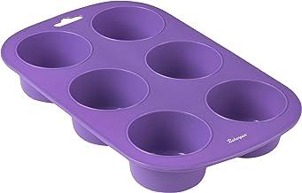 Bakerpan Silicone Muffin Pan, Cupcake Tray, Baking Cups, Cupcake Holders, 6 Cups (Purple)
