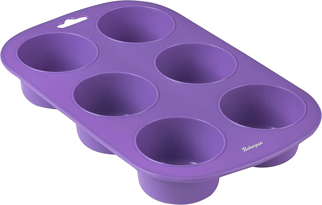 Bakerpan Silicone Muffin Pan Cupcake Tray Baking Cups Cupcake Holders 6 Cups Purple