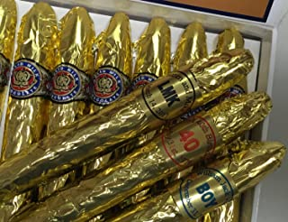 Custom Gold Chocolate Cigars in a Fancy cigar Box of 24 with Personalized Bands