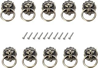 Karcy 10pcs Zinc Alloy Lion Head Knob Pull Handle Door Hardware for Cabinet Dresser Drawer (Antique Bronze)