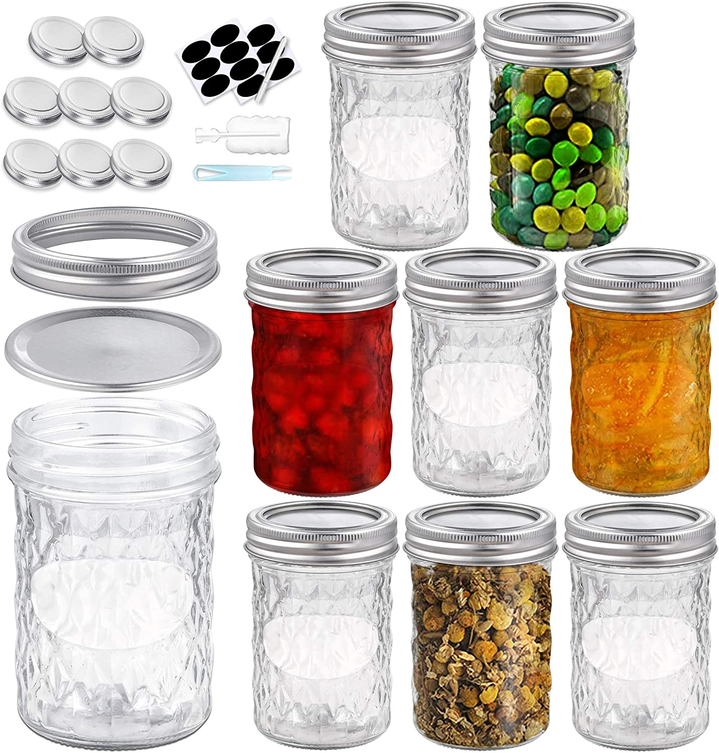 Foruisin Daily bargain sale 8 OZ 8-Set Regular Mail order Mouth Mason Jars Ban and Lids with